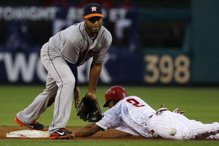 Ben Revere, right, steals second base past Astros shortstop Gregorio Petit. Photo: Matt Slocum, Associated Press