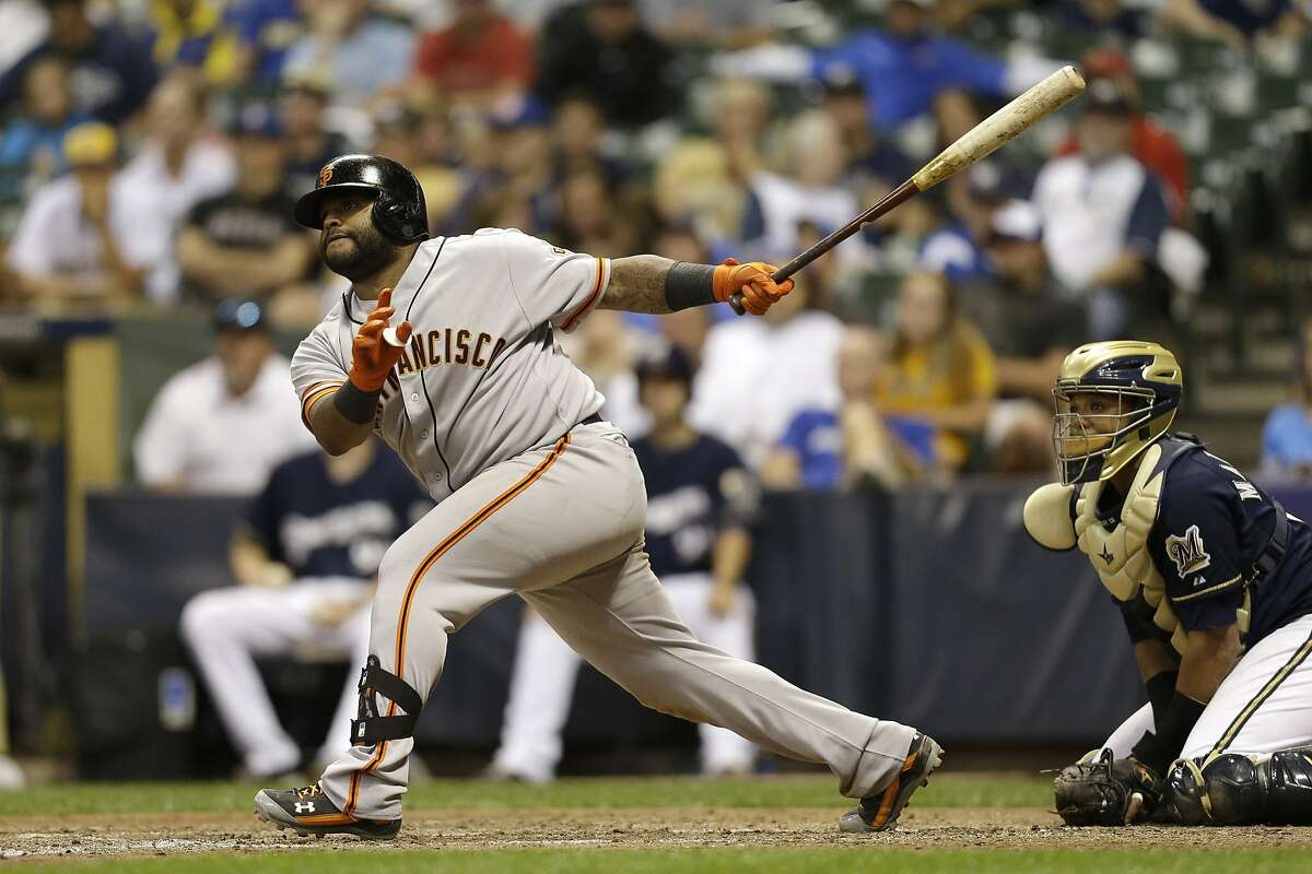 MILWAUKEE, WI - AUGUST 06: Pablo Sandoval #48 of the San Francisco Giants hits a two-run home run in the top of the eighth inning against the Milwaukee Brewers at Miller Park on August 06, 2014 in Milwaukee, Wisconsin. (Photo by Mike McGinnis/Getty Images)
