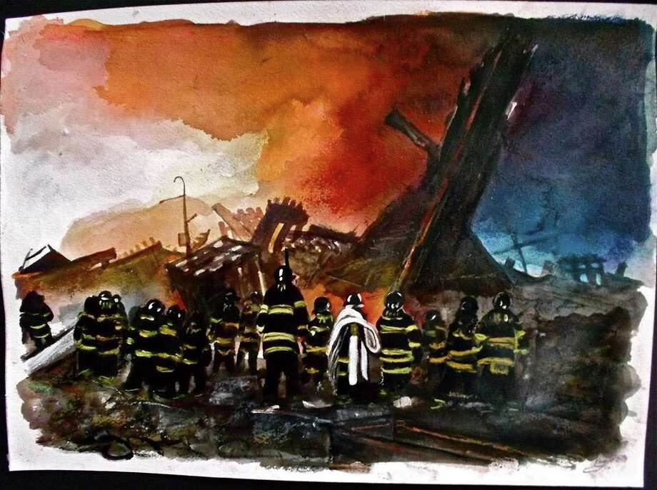"ìFiremen in Rubble,"" a depiction of rescue crews at the World Trade Center on Sept. 11, 2001, by artist Karen E. Gersch. Photo: Contributed Photo / Westport News"