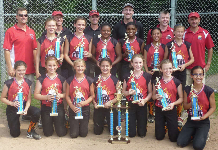 The Fairfield Fury's team for girls 12 and younger won the Fairfield County Fastpitch Softball League championship on Sunday, Aug. 3. Bottow row, from left: Emma Romeo, Bella Bookas, Sammy Juthnas, Sarah Szuchman, Margaret Nolan, Bridget Keary and Jasmine Castro. Middle row, from left: Kylee Holderied, Caroline Belinsky, Haley Bivens, Sydnee DiNatale, Serena Ta and Molly Meehan. Back row, from left: coaches Bill Juthnas, Dennis Nolan, Chris Meehan, Kurt Holderied, Jimmy Keary and Mark Szuchman. Photo: Contributed Photo / Fairfield Citizen