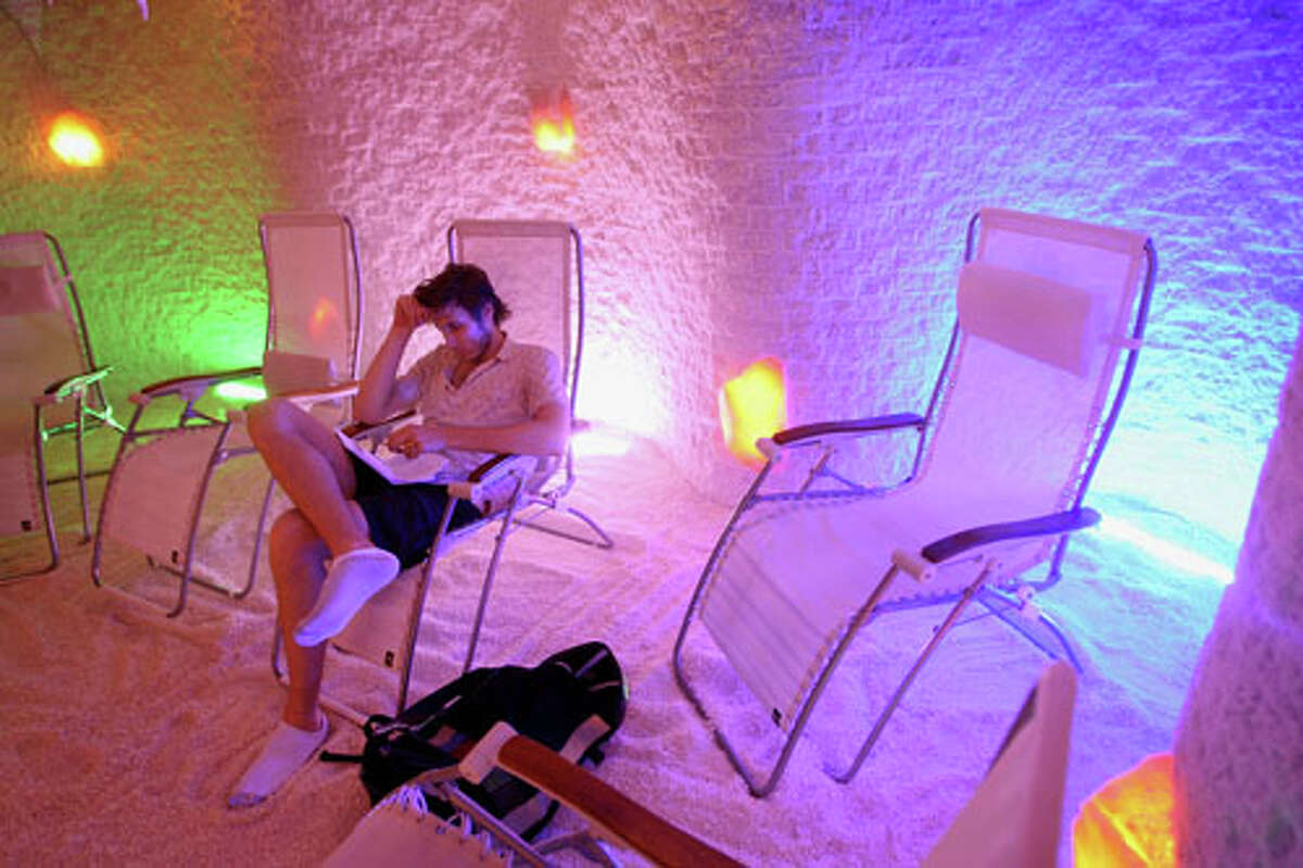 Real spa treatment: You sit in a lawn chair inside a room that is covered top to bottom with salt and inhale the salty air. It is supposed to help with everything from allergies to arthritis.