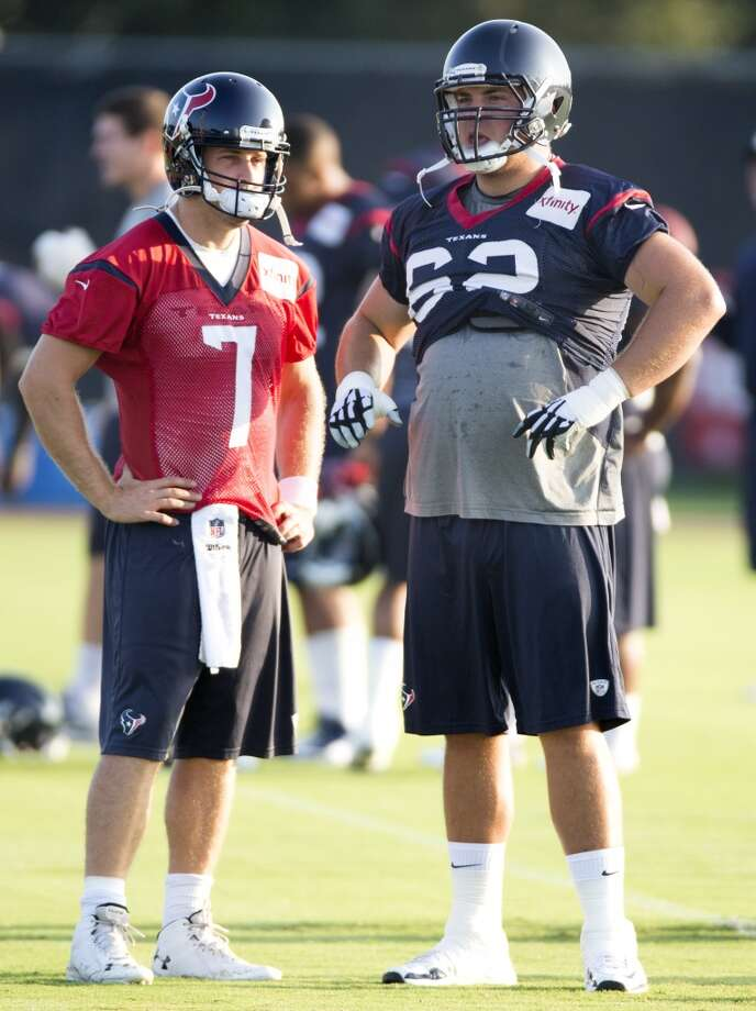 Day 11: August 7   Texans quarterback Case Keenum (7) and offensive lineman Alex Kupper (62) stand together before practice. Photo: Brett Coomer, Houston Chronicle