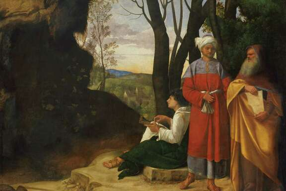 """Three Philosophers"" by Giorgione (Giorgio da Castelfranco) is among works that will be on view June 14- Sept. 13, 2015 in an exhibition at the Museum of Fine Arts, Houston from the Habsburg Imperial Collections, Kunsthistorisches Museum, Vienna. GG_111_Neu.tif"