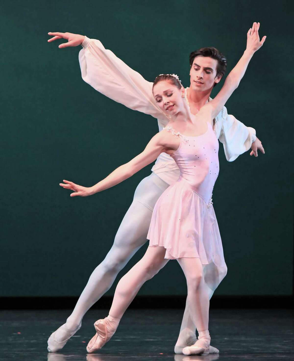 """COVER OPTION: MELODY ONLY... Houston Ballet will perform George Balanchine's """"Ballo della Regina"""" as part of its 2015 Spring Repertory Program. Pictured are Melody Mennite and Joseph Walsh."""