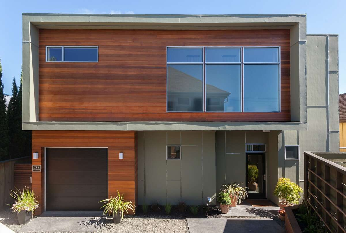 The contemporary home features a geometric facade and was built in 2012.