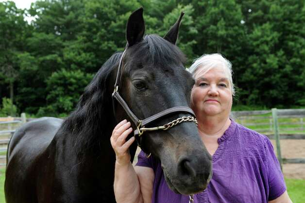 Farm owner Sue Friday with her three-time world champion Morgan, Kane Creek Cryponite, on Tuesday, June 24, 2014, at Rolling Oaks Morgans in Wilton, N.Y. (Cindy Schultz / Times Union) Photo: Cindy Schultz / 00027451A