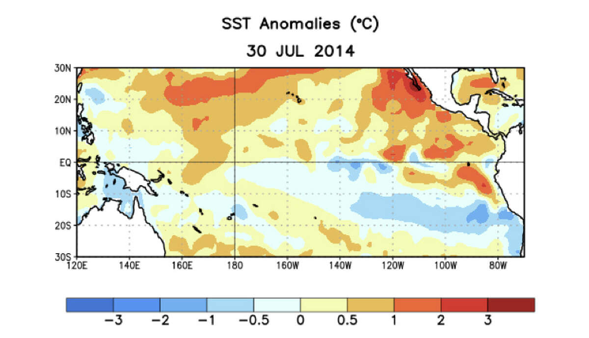 Average sea surface temperature (SST) anomalies (°C) for the week centered on 30 July 2014. Anomalies are computed with respect to the 1981 - 2010 base period weekly means.
