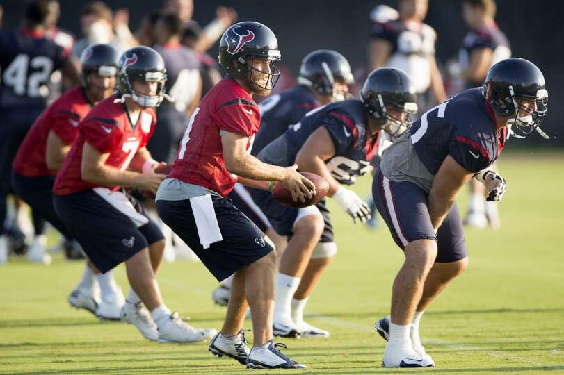 Texans quarterback Ryan Fitzpatrick (14) takes a snap from center Chris Myers.