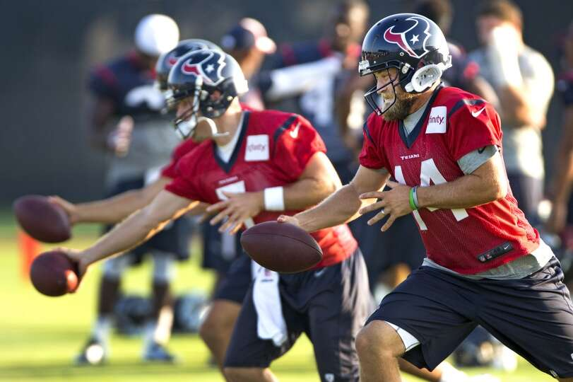 Texans quarterback Ryan Fitzpatrick (14) drops back to simulate a handoff.
