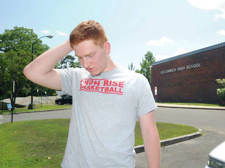 Standing on the campus of Greenwich High School, Conn., Thursday, Aug. 7, 2014, Griffin Golden, 17, who will be a Greenwich High School senior at the start of the upcoming school year, reflects on the death of classmate, Emily Fedorko, who died in a boating accident at Greenwich Point on Wednesday. Photo: Bob Luckey / Greenwich Time
