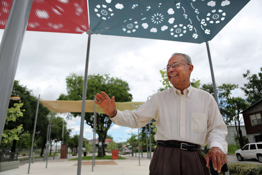 Felix Fraga, a long time Second Ward resident, waves at a friend while standing on the Navigation Esplanade. The art-filled space is going to be the site of Evenings on the Esplanade every Saturday in August. Photo: Mayra Beltran, Houston Chronicle / © 2014 Houston Chronicle
