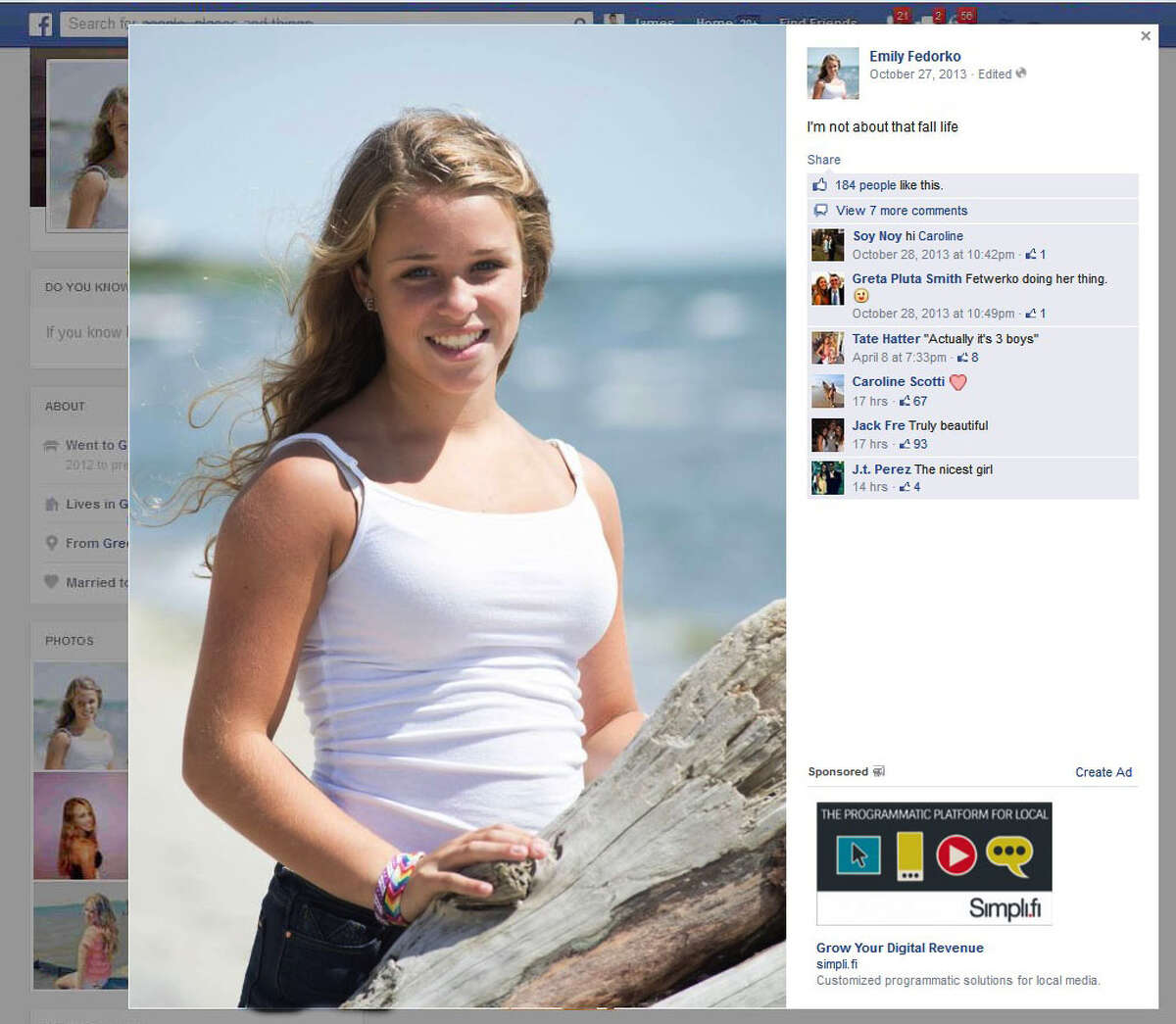 An image from the facebook page of Emily Fedorko, the teenage girl killed in a tubing accident in Greenwich, Conn. on Wed., Aug. 6, 2014.