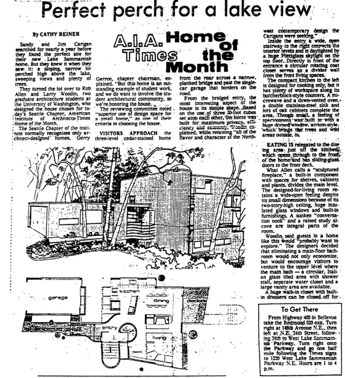 """A Seattle Times article from May 1, 1977, declaring 1220 W. Lake Sammamish Parkway, N.E., in Bellevue, the """"Home of the Month."""""""