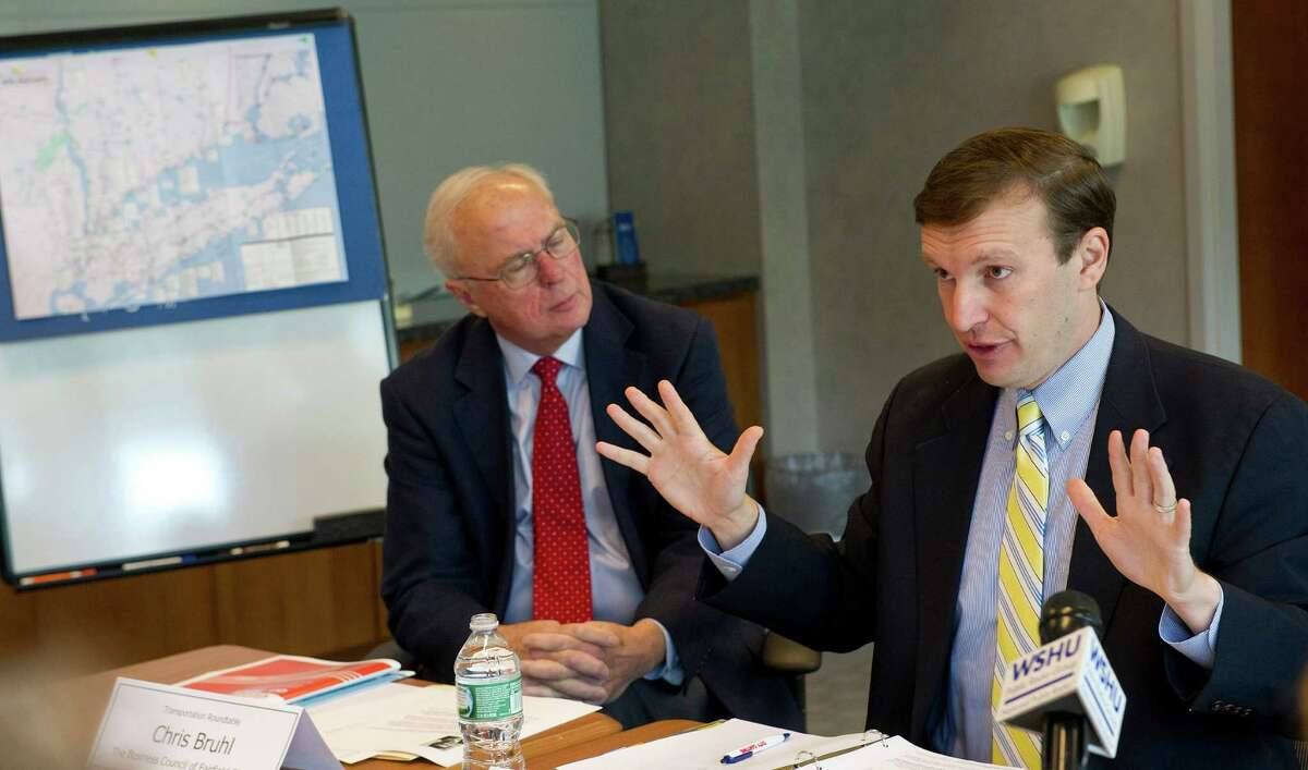 U.S. Sen. Chris Murphy speaks during a transportation roundtable meeting on Thursday, August 7, 2014, at Landmark Square in Stamford, Conn., where he announced legislation he is sponsoring to fund major rail projects.