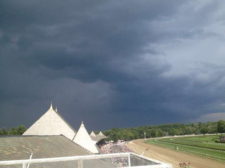 A storm cloud over Saratoga Race Course on Thursday, Aug. 7, 2014, in Saratoga Springs. (Mike Jarboe