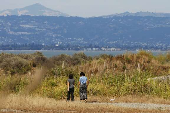 People walk on the grounds of India Basin Open Space on August 04, 2014 in San Francisco, CA. India Basin is the largest remaining privately owned development site in the city. The Build Group is proposing to develop the 14 acre waterfront property with 900 housing units.