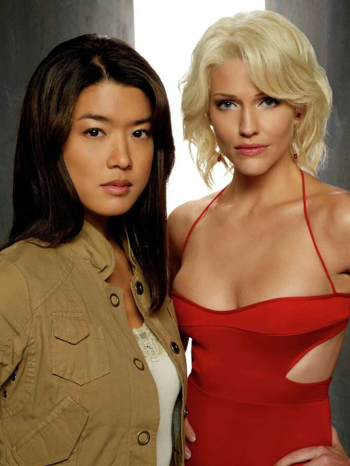 Tricia Helfer as Number Six, (right)Battlestar Galactica Photo: Syfy, Getty Images / 2012 Syfy Media, LLC