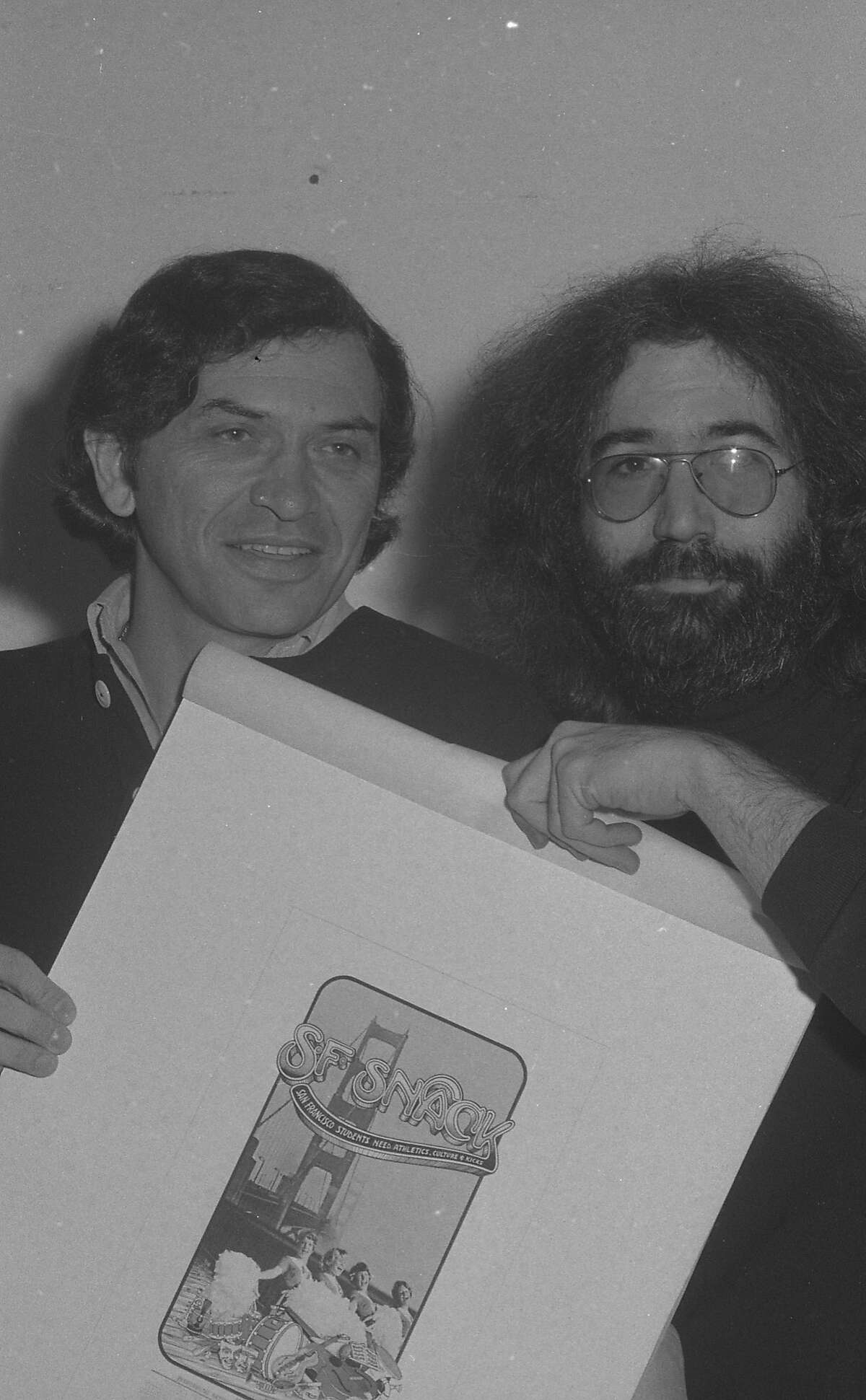 Concert to benefit San Francisco School Sports (SNACK) organized by Bill Graham with the support of Mayor Joe Alioto, Willie Mays, Cecil Williams, Jerry Garcia and Carlos Santana. This press conference happened February 19, 1975