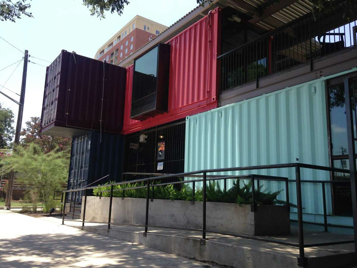 The Container Bar - which opened in March and resides on Rainey Street, a historic district that's home to many bars - is completely made of shipping containers.