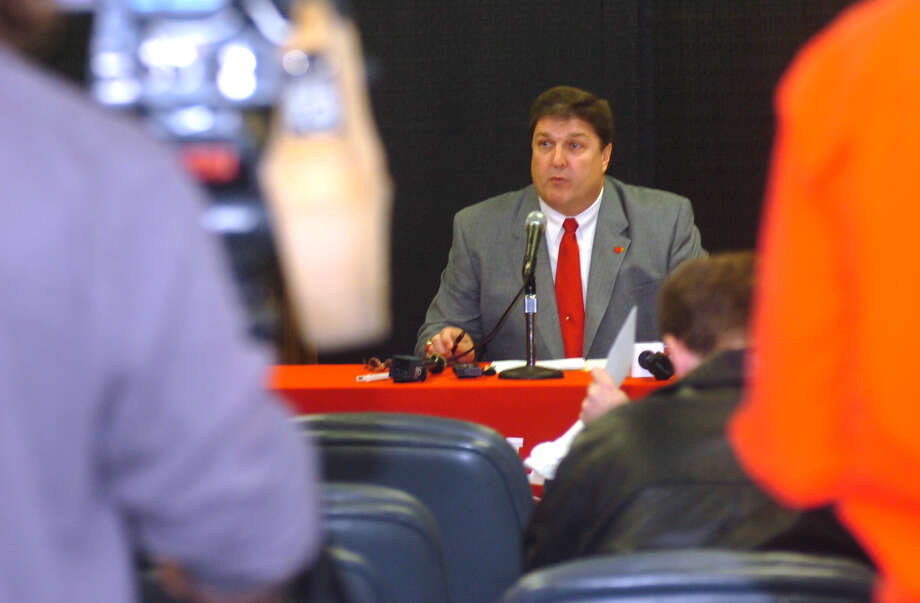 Lamar football coach Ray Woodard talks about the recruits who signed with Lamar on Wednesday in the Red Room at the Montagne Center. Pete Churton/The Enterprise Photo: Pete Churton / Beaumont