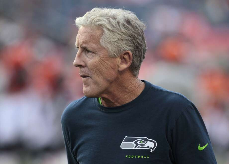 Seattle Seahawks head coach Pete Carroll watches his team prior to an NFL preseason football game agains the Denver Broncos, Thursday, Aug. 7, 2014, in Denver. (AP Photo/Joe Mahoney) Photo: Joe Mahoney, AP