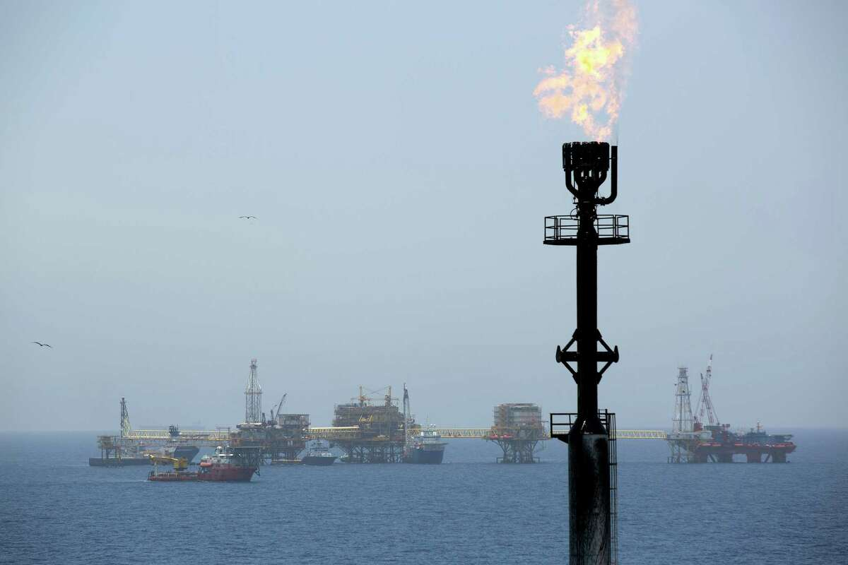 Natural gas is flared from a tower on an oil drilling rig operated by Pemex in the Ku-Maloob-Zaap oil field off Ciudad del Carmen. Pemex was given reserves that are likely to help keep it dominant in Mexico.