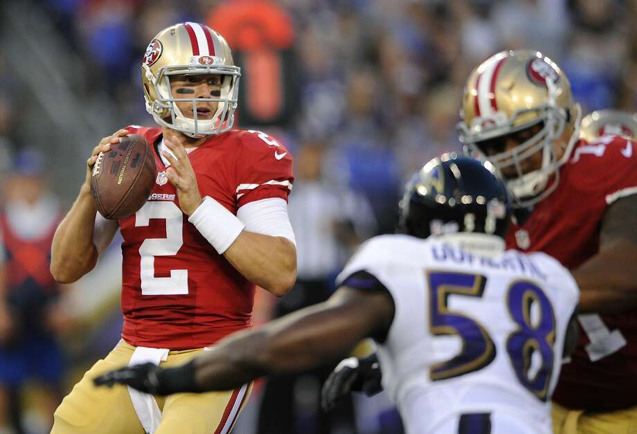 Quarterback Blaine Gabbert didn't impress in his first showing with the 49ers. Photo: Nick Wass, Associated Press