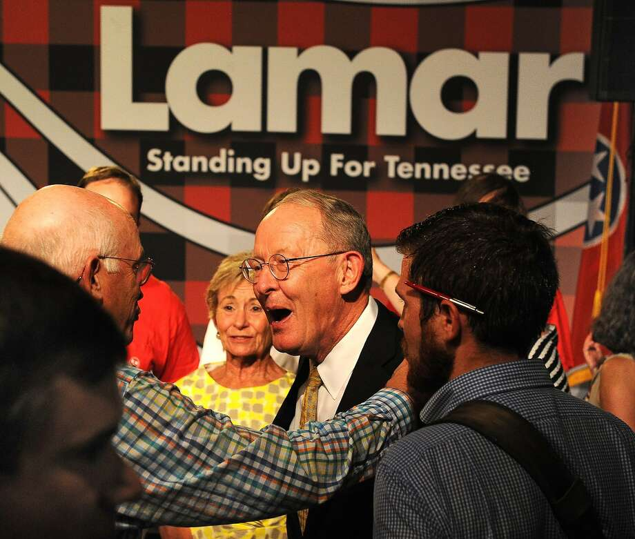 Sen. Lamar Alexander celebrates after defeating state Sen. Joe Carr, a Tea Party challenger, in the Tennessee primary. Photo: John Partipilo, Associated Press