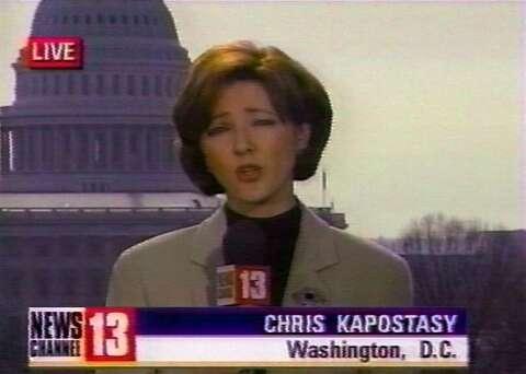 NBC's Chris Jansing, remembered here as Chris Kapostasy, slips into
