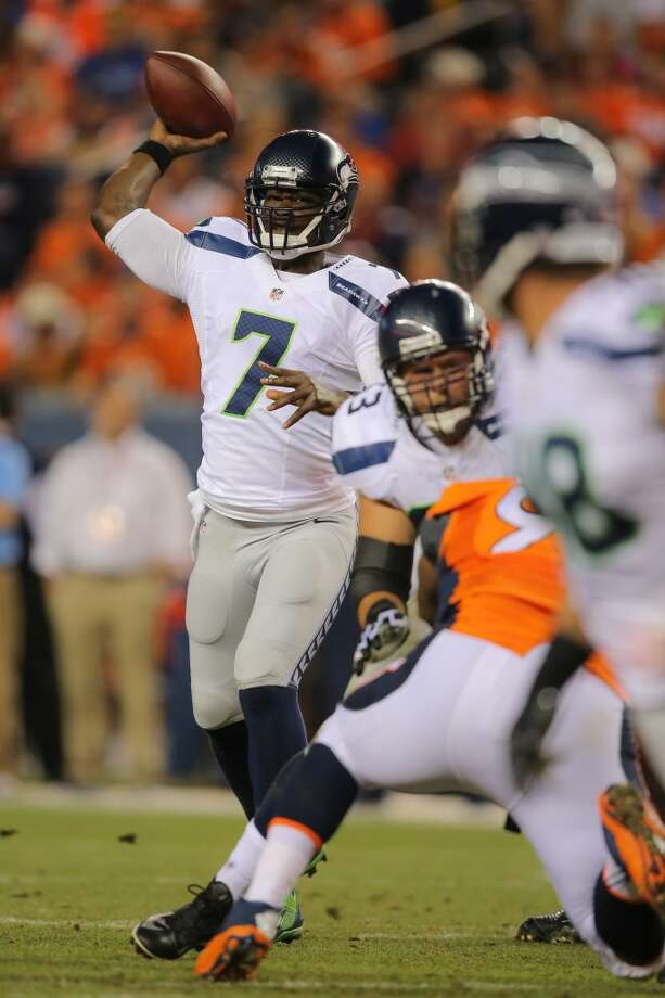 Quarterback Tarvaris Jackson #7 of the Seattle Seahawks passes against the Denver Broncos during preseason action at Sports Authority Field at Mile High on August 7, 2014 in Denver, Colorado.  (Photo by Doug Pensinger/Getty Images) Photo: Doug Pensinger, Getty Images