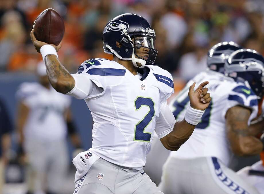 Seattle Seahawks quarterback Terrelle Pryor hrows against the Denver Broncos during the second half of an NFL preseason football game, Thursday, Aug. 7, 2014, in Denver. (AP Photo/Jack Dempsey) Photo: AP