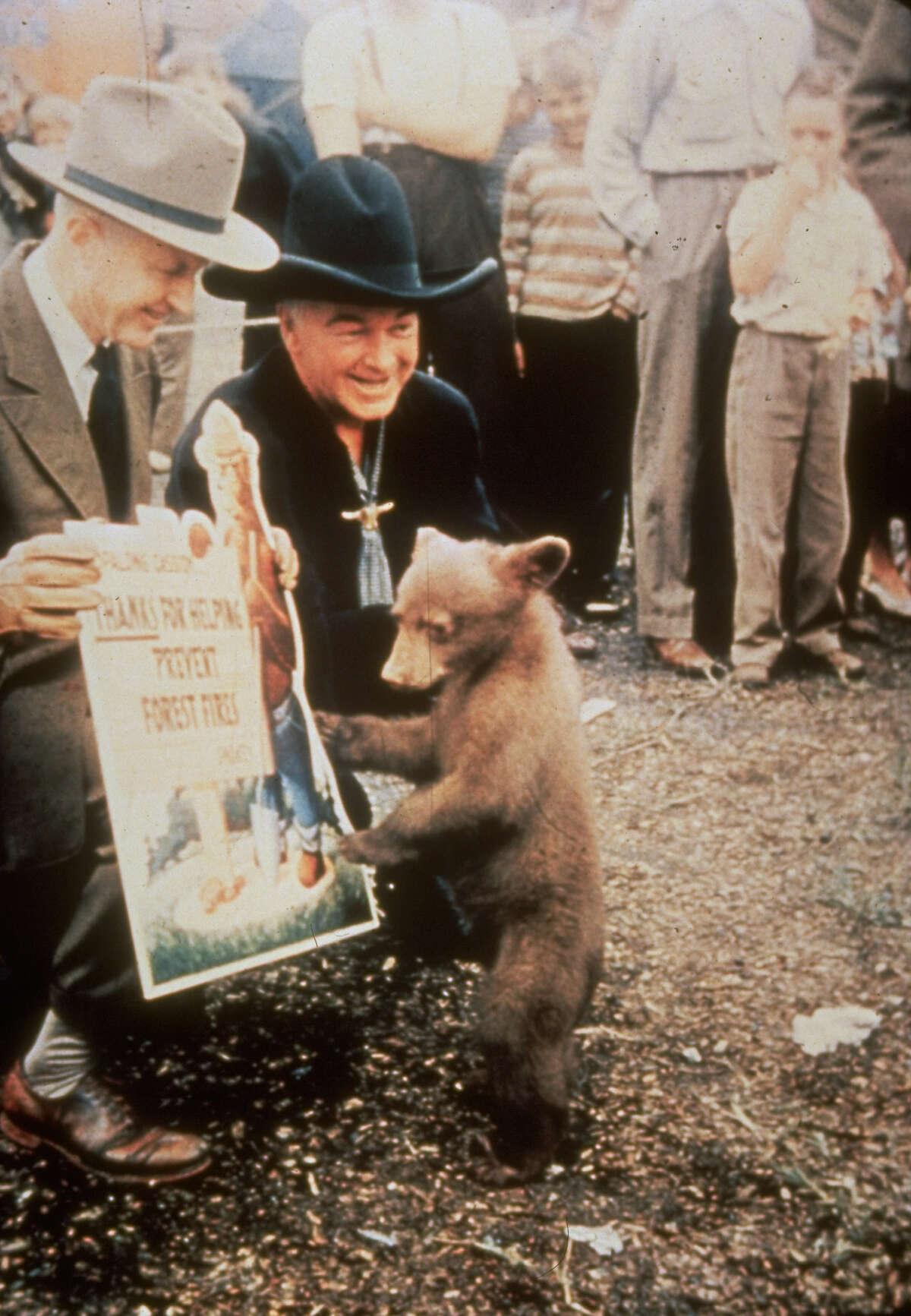 Hopalong Cassidy The show produced original episodes from 1952 to 1954. The star, William Boyd, is seen here dressed in his trademark black outfit greeting Smokey Bear.