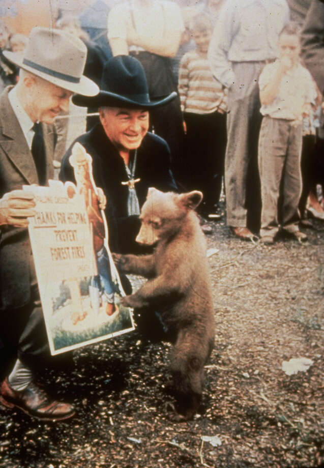 Hopalong CassidyThe show produced original episodes from 1952 to 1954. The star, William Boyd, is seen here dressed in his trademark black outfit greeting Smokey Bear. Photo: Time Life Pictures, Getty Images / Time Life Pictures