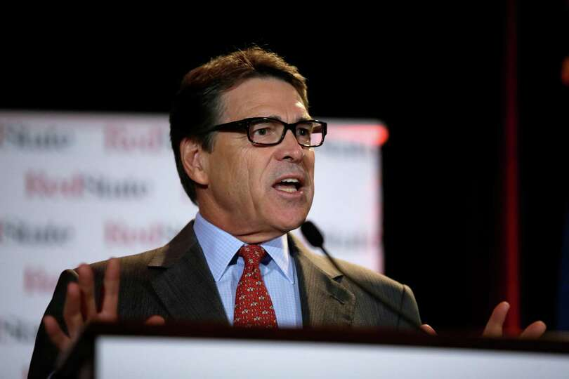 Texas Governor Rick Perry delivers a speech to nearly 300 in attendance at the 2014 Red State Gather