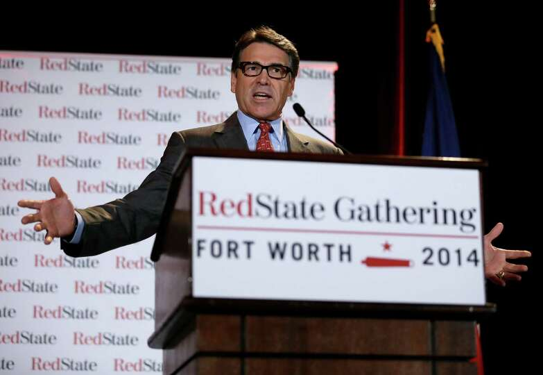 Governor Rick Perry addresses a group of nearly 300 in attendance at the 2014 Red State Gathering, F