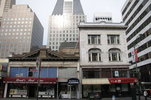 The buildings at 600 and 610 Kearny Street rose in the aftermath of the 1906 earthquake, and have survived at the edge of the transition from Chinatown to the Financial District. The architects are C.A. Meussdorffer (right) and Alfred Coffey.