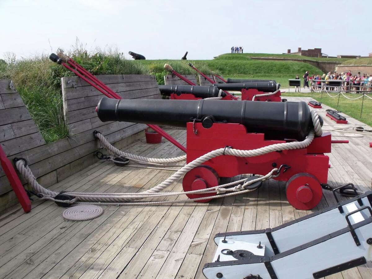 This reconstructed water battery at Fort McHenry National Historic Monument in Baltimore, Md. was built on the original footprint from the 1814 battle. In the background, and peeking over the ramparts, you can see the Civil War era cannons and barracks. The primary focus here is the 1814 event that inspired the National Anthem.