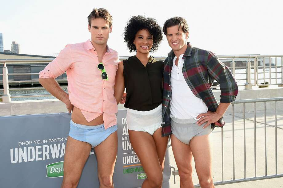 These people are getting paid to parade around in their underpants: Models show off reinforced skivvies at the Drop Your Pants and Dance for Underwareness Concert, hosted by Depend, in New York City. Photo: Jamie McCarthy, Getty Images For Depend