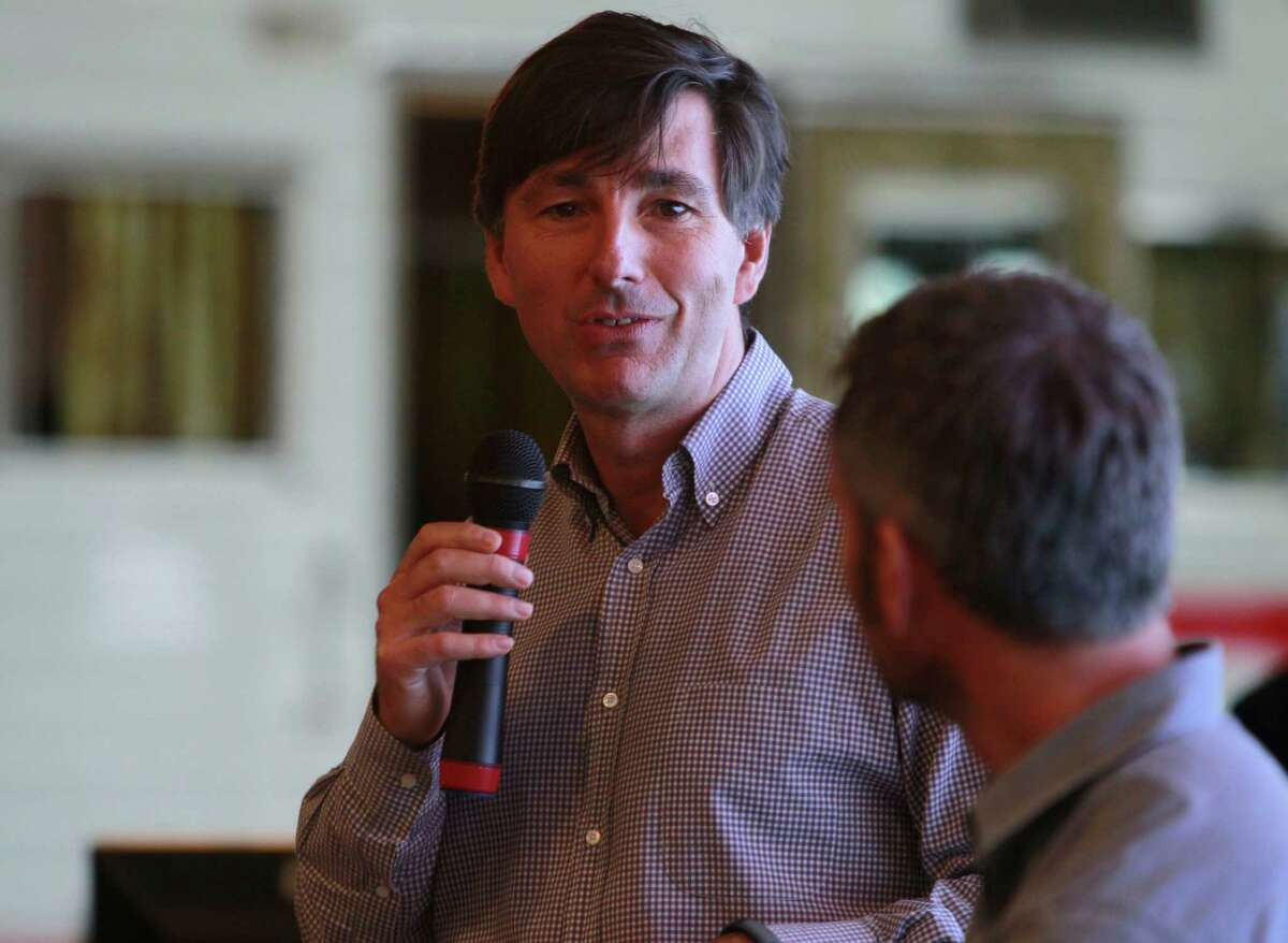 CEO Don Mattrick addresses employees attending a staff meeting at Zynga headquarters in San Francisco, Calif. on Thursday, Feb. 27, 2014. Zynga is on the verge of releasing updated versions of some of its most popular titles as well as introducing new games.