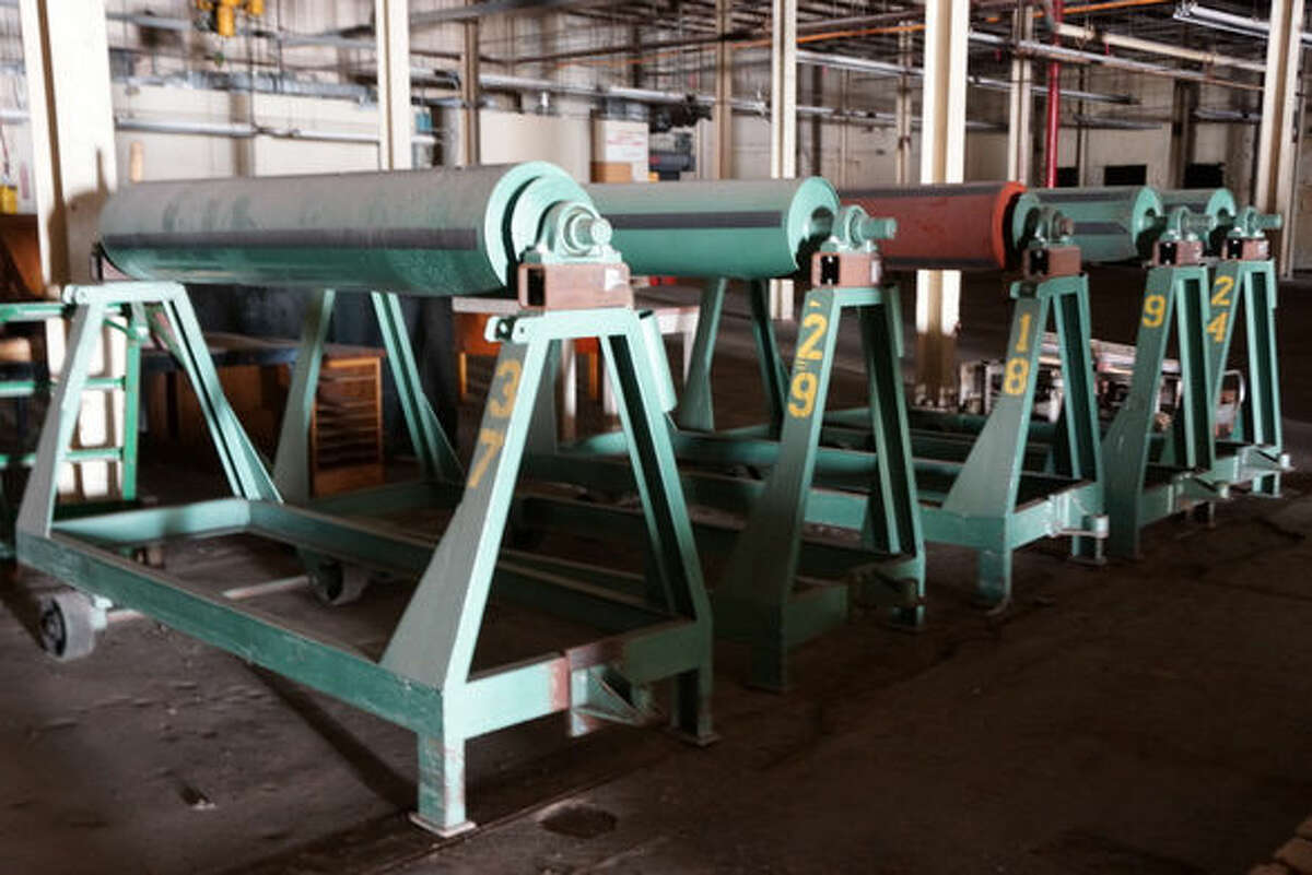 Industrial rollers up for auction from the Mission Valley Mills.