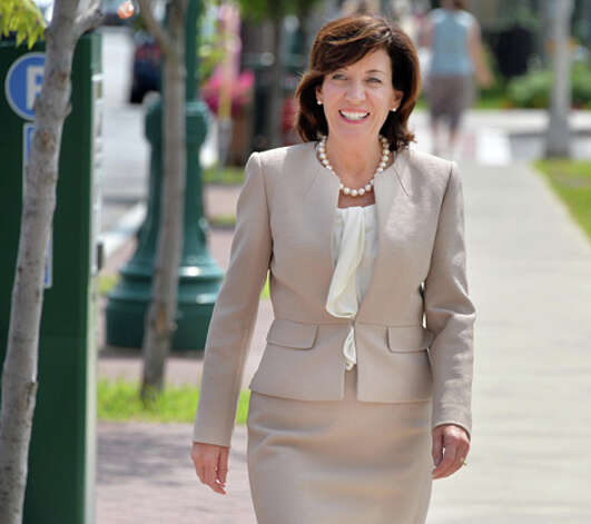 Lieutenant governor candidate Kathy Hochul on her way to a meeting with Schenectady Mayor Gary McCarthy and County Legislature Vice Chair Karen Johnson Friday August 8, 2014, in Schenectady, NY.  (John Carl D'Annibale / Times Union) Photo: John Carl D'Annibale, Albany Times Union / 00028100A
