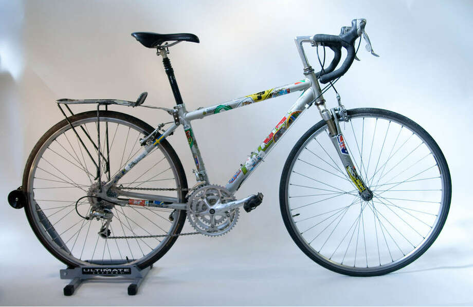 Cannondale:  This stock model equipped for touring bears tour stickers from around the world. In 12 months, it was ridden 18,000 miles in 47 countries, including the Rose Bowl Parade in Pasadena, Calif. Photo: Sara Schoenfield Murphy