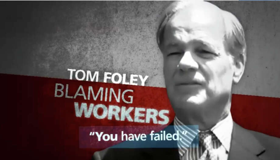 "An image from a new John McKinney commercial that attacks frontrunner Tom Foley as ""arrogant, ill-informed, uncaring"" Photo: Contributed Photo / Connecticut Post Contributed"
