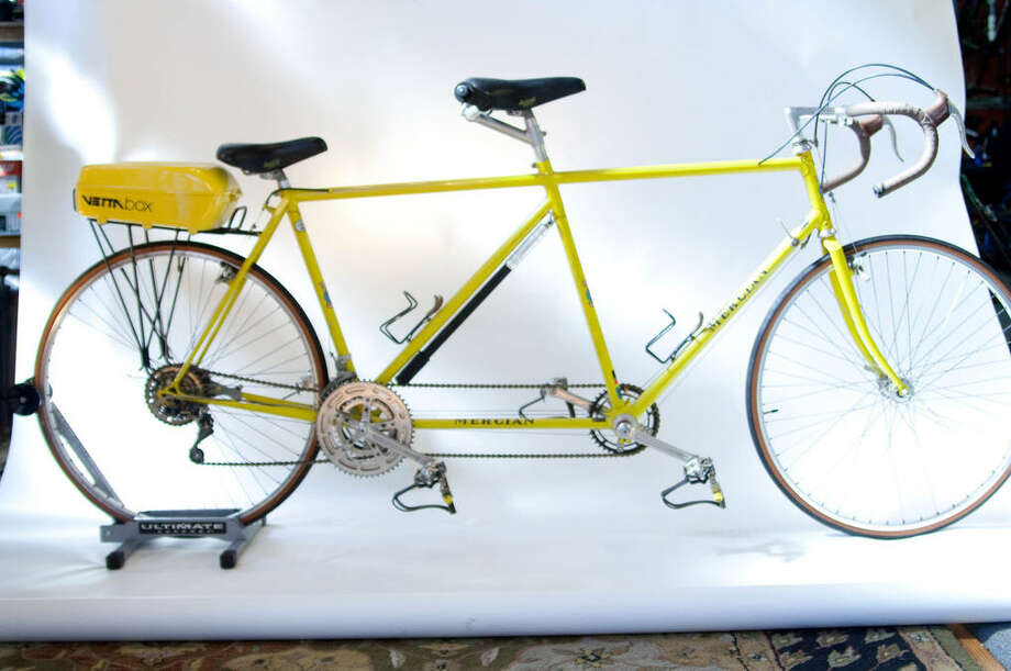 Mercian Tandem: Circa mid-1970s. TA cranks, Mafac brakes and Huret gears were typical on tandems of the time. The rack box did not catch on with riders and is rare to see one in mint condition. | Photo by Sara Schoenfield Murphy for the Houston Bicycle Museum Photo: Sara Schoenfield Murphy