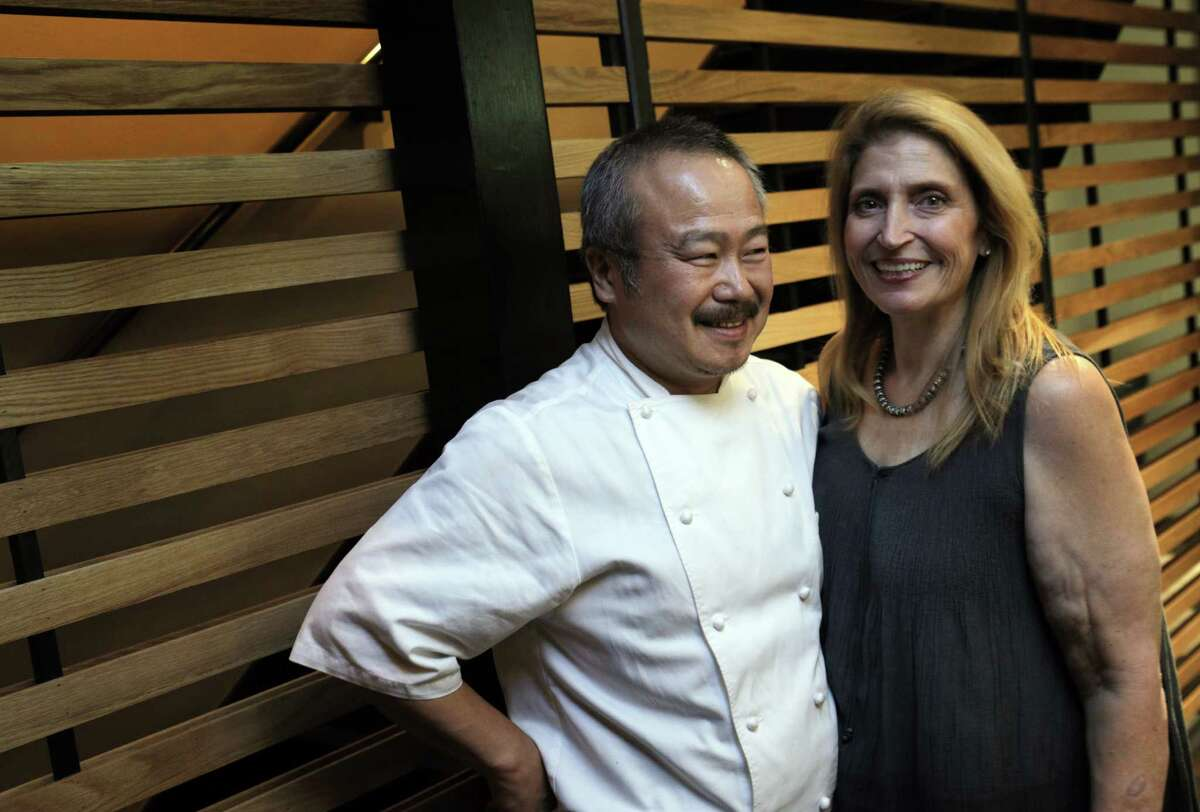 Chef/owners, Hiro Sone and Lissa Doumani at the new Urchin Restaurant in San Francisco. The restaurant held a dinner on Sunday, August 3, 2014, for family and friends prior to its official opening on Monday.