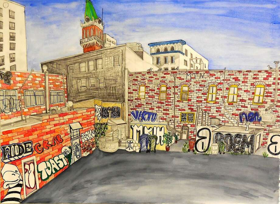 "Above: ""Toast to Oakland,"" by painter Jill McLennan. Photo: Jill McLennan, Mercury 20 Gallery"