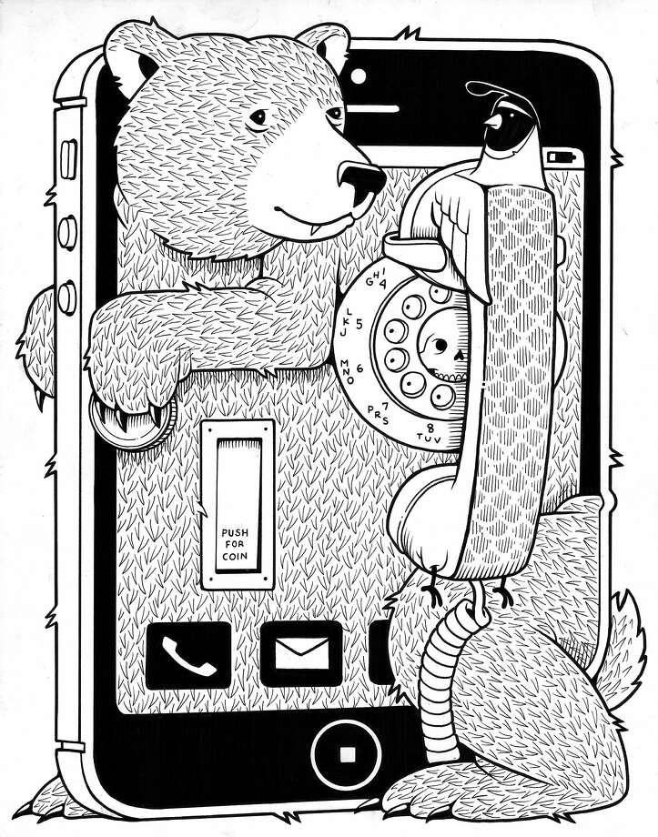 Jeremy Fish's bear has a bit of a struggle with phones. Photo: Ffdg