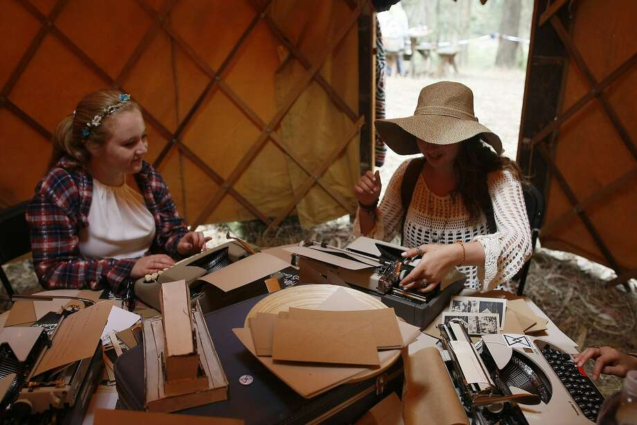 Nadine Herman, right, and Tori Wilbur type letters at the digital detox section of Outside Lands on Friday, Aug. 8, 2014 in San Francisco, Calif. Outside Lands is expected to draw in as many as 180,000 people this weekend. Photo: James Tensuan, The Chronicle