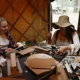 Nadine Herman, right, and Tori Wilbur type letters at the digital detox section of Outside Lands on Friday, Aug. 8, 2014 in San Francisco, Calif. Outside Lands is expected to draw in as many as 180,000 people this weekend.