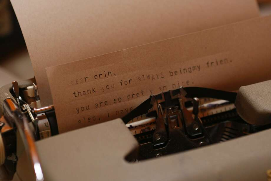 An Outside Lands attendee types a letter on a typewriter at the digital detox section on Friday, Aug. 8, 2014 in San Francisco, Calif. Outside Lands is expected to draw in as many as 180,000 people this weekend. Photo: James Tensuan, The Chronicle